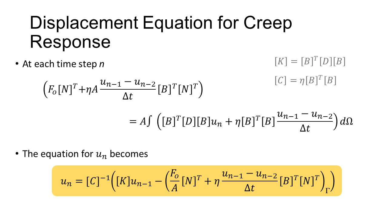 Displacement Equation for Creep Response