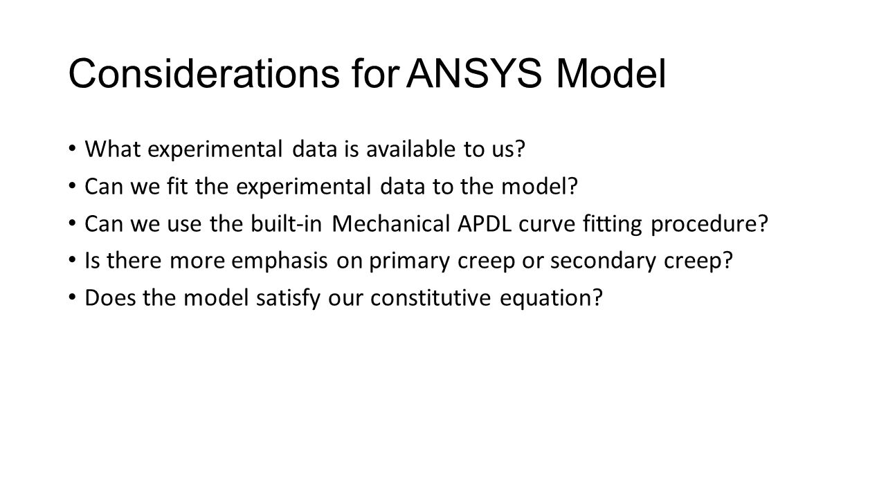 Considerations for ANSYS Model