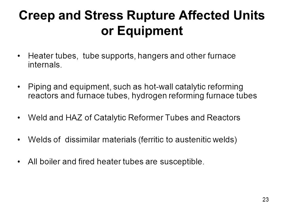 Creep and Stress Rupture Affected Units or Equipment