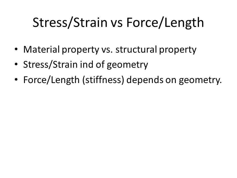 Stress/Strain vs Force/Length