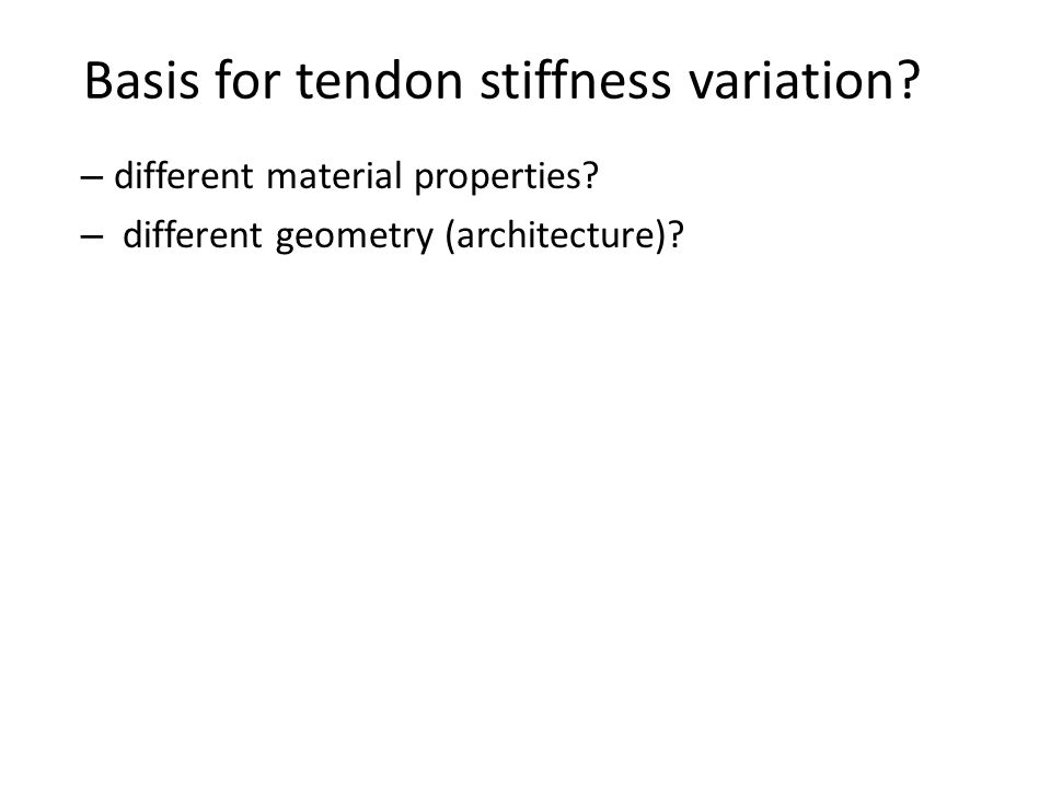 Basis for tendon stiffness variation