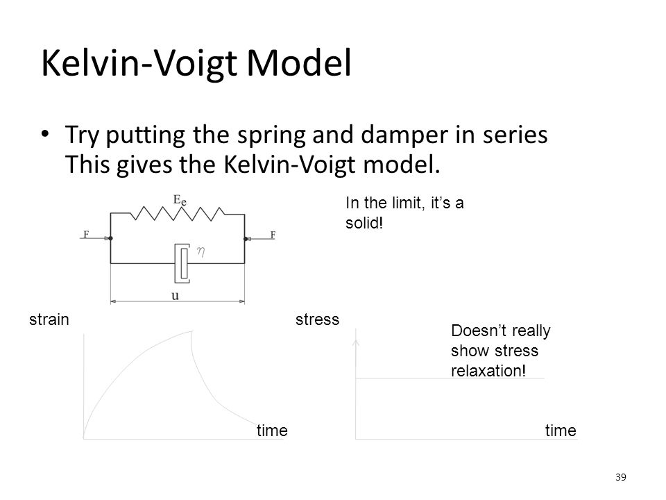 Kelvin-Voigt Model Try putting the spring and damper in series This gives the Kelvin-Voigt model. In the limit, it's a solid!
