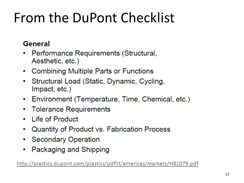 From the DuPont Checklist