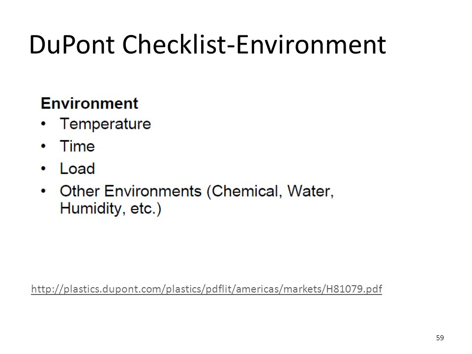 DuPont Checklist-Environment