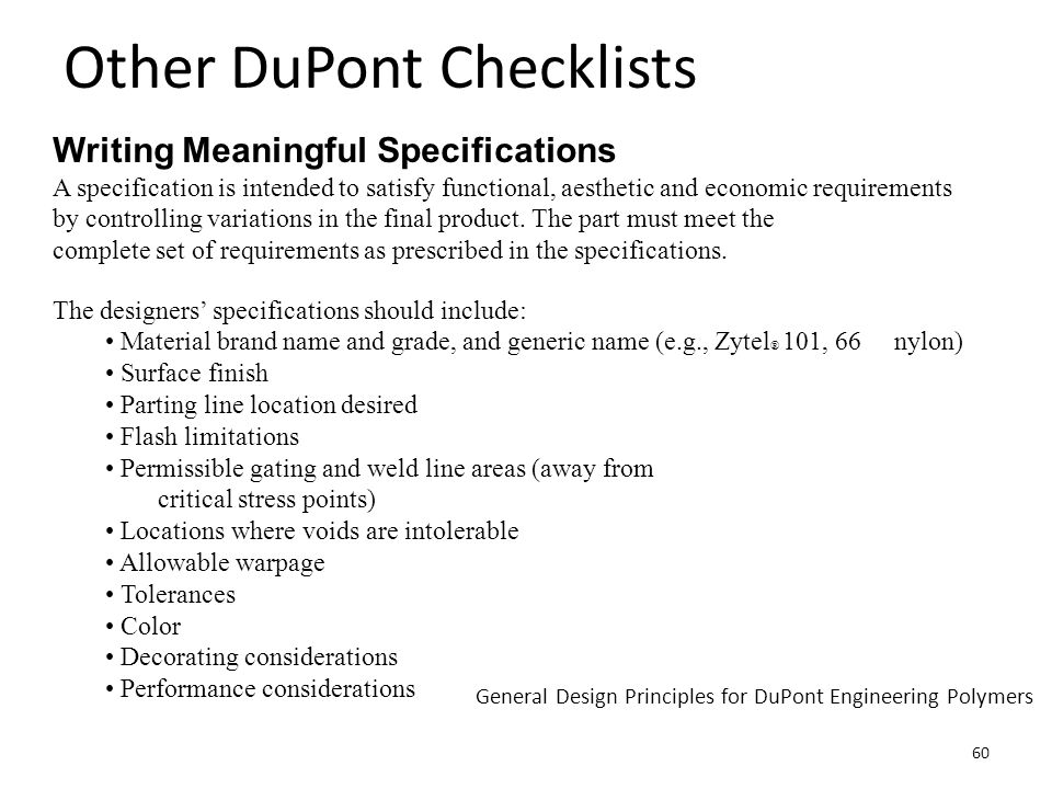 Other DuPont Checklists