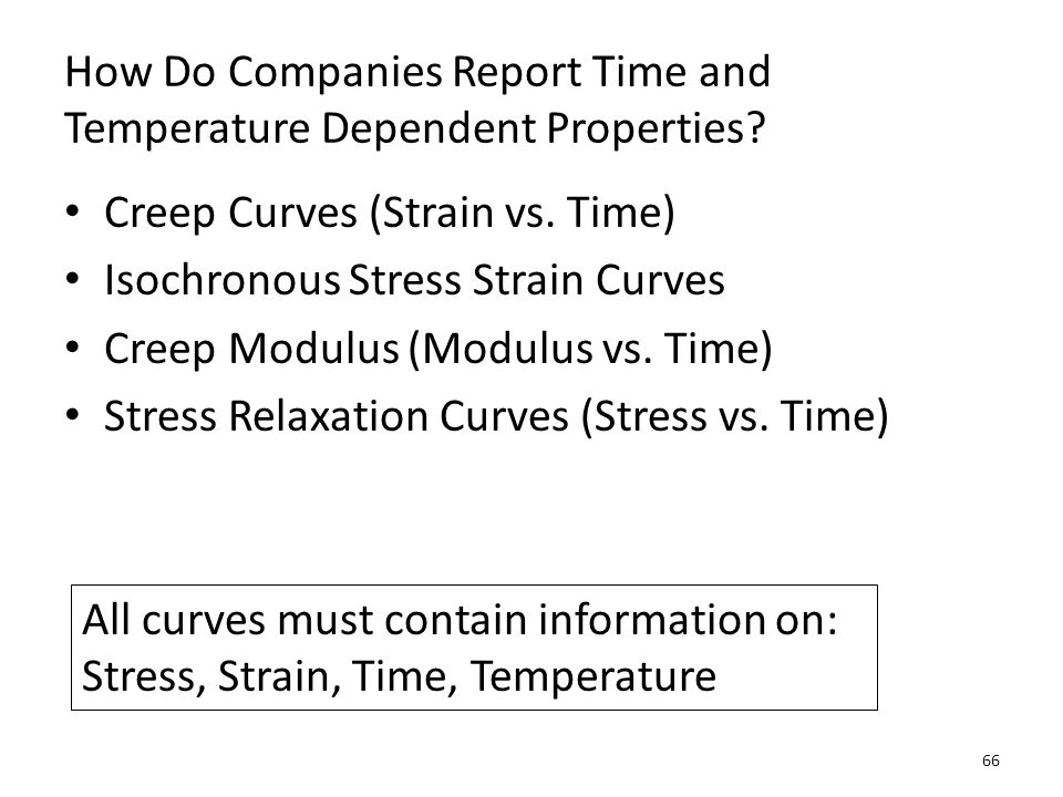 How Do Companies Report Time and Temperature Dependent Properties