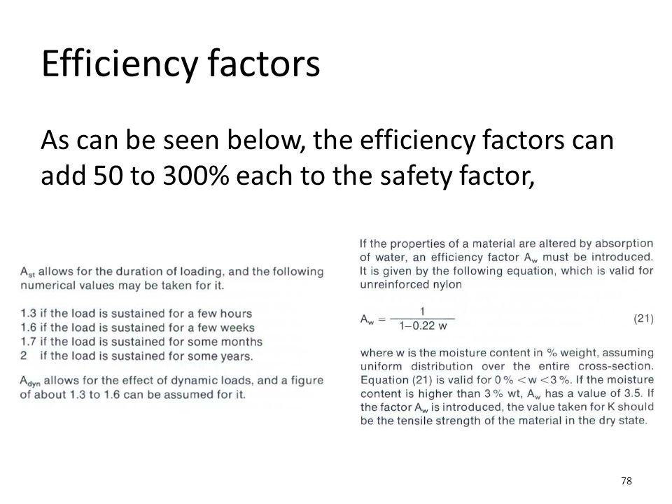 Efficiency factors As can be seen below, the efficiency factors can add 50 to 300% each to the safety factor,