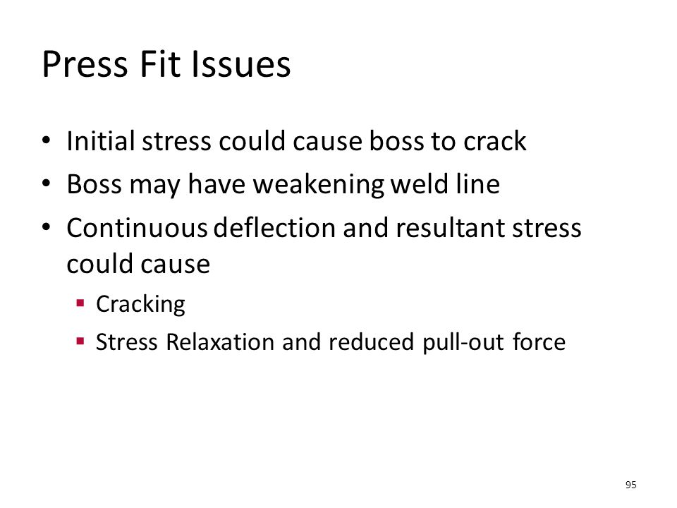 Press Fit Issues Initial stress could cause boss to crack