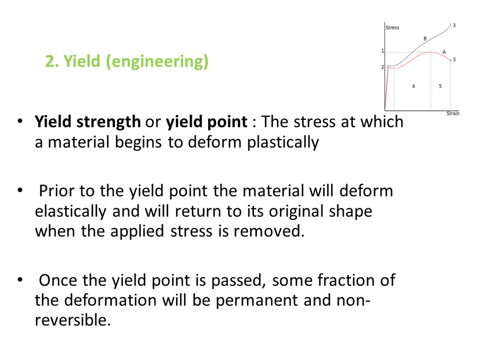 2. Yield (engineering) Yield strength or yield point : The stress at which a material begins to deform plastically.