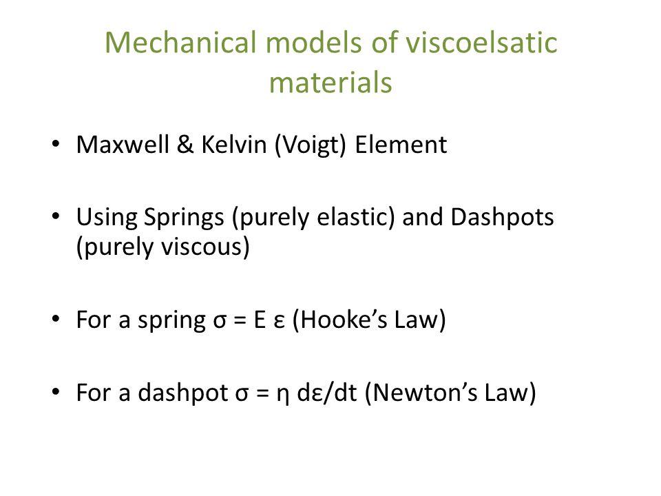 Mechanical models of viscoelsatic materials