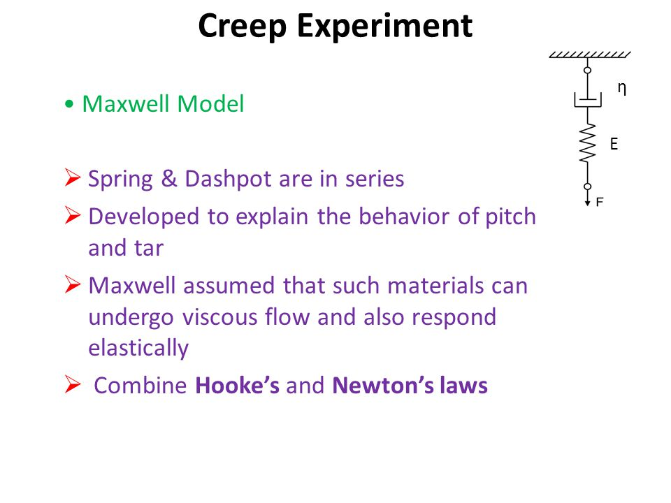 Creep Experiment • Maxwell Model Spring & Dashpot are in series