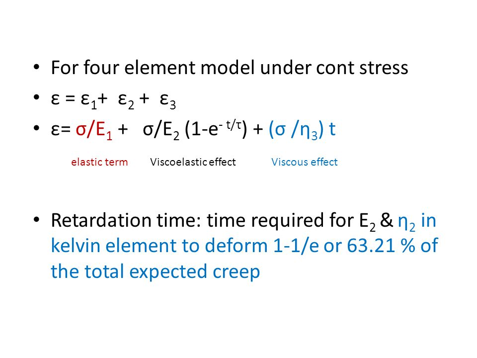 For four element model under cont stress