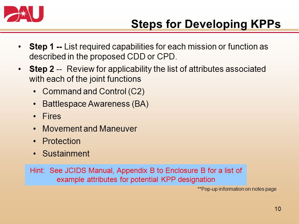 Steps for Developing KPPs