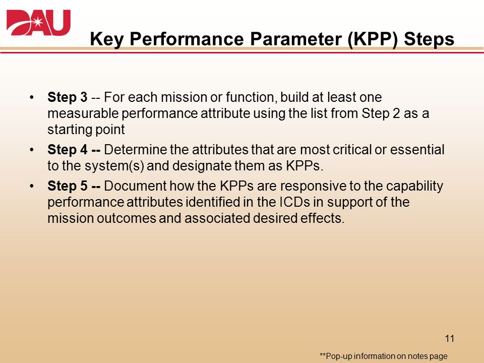 Key Performance Parameter (KPP) Steps