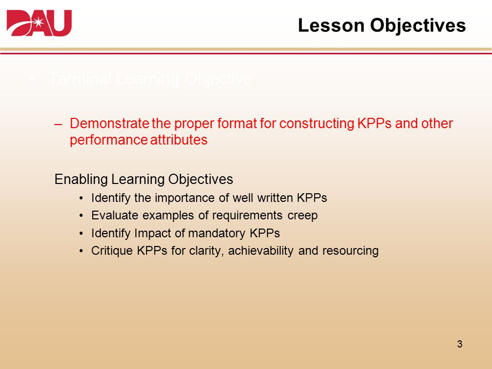 Lesson Objectives Terminal Learning Objective