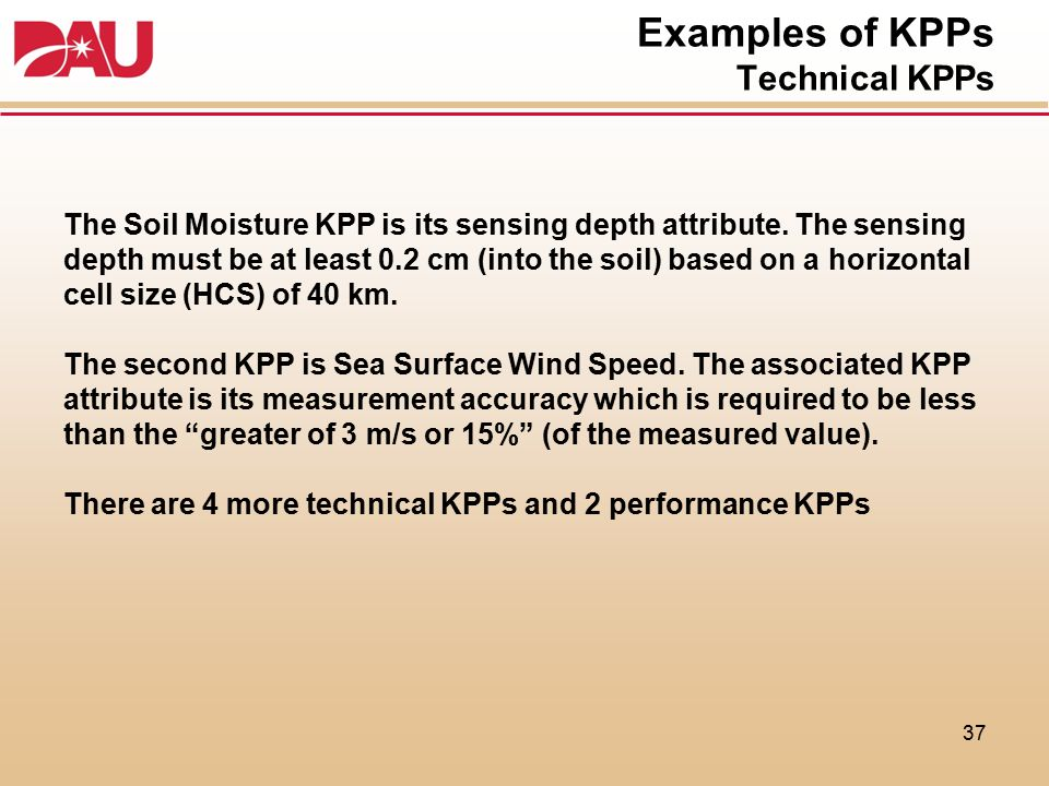 Examples of KPPs Technical KPPs