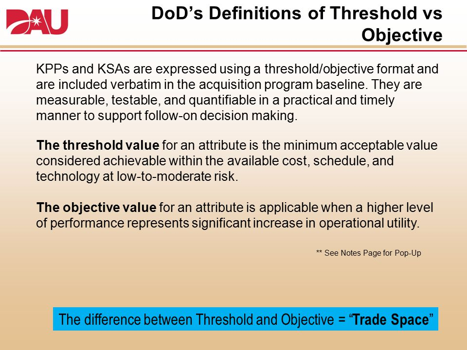 DoD's Definitions of Threshold vs Objective