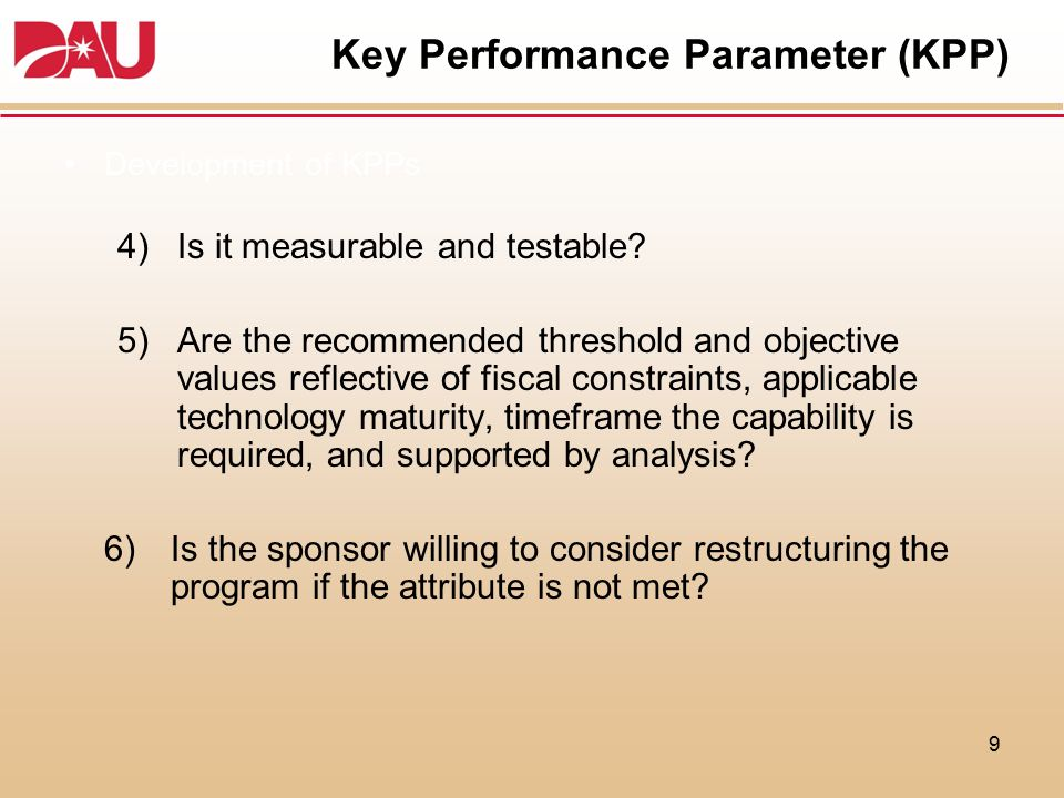 Key Performance Parameter (KPP)