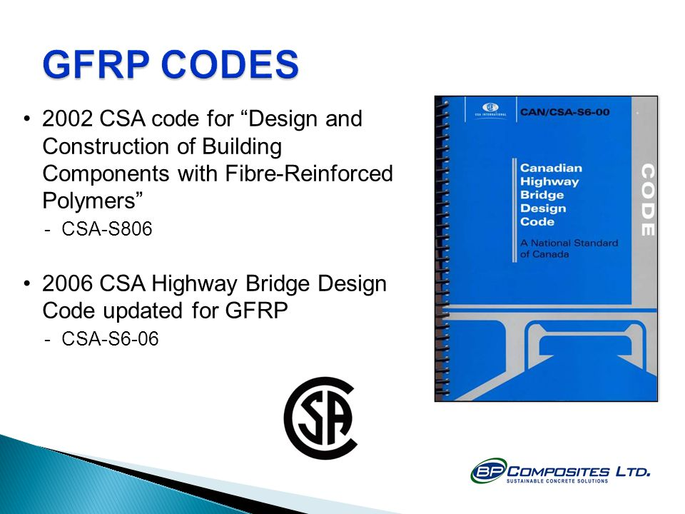 GFRP CODES 2002 CSA code for Design and Construction of Building Components with Fibre-Reinforced Polymers