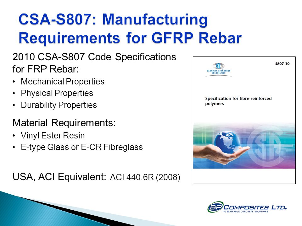 CSA-S807: Manufacturing Requirements for GFRP Rebar