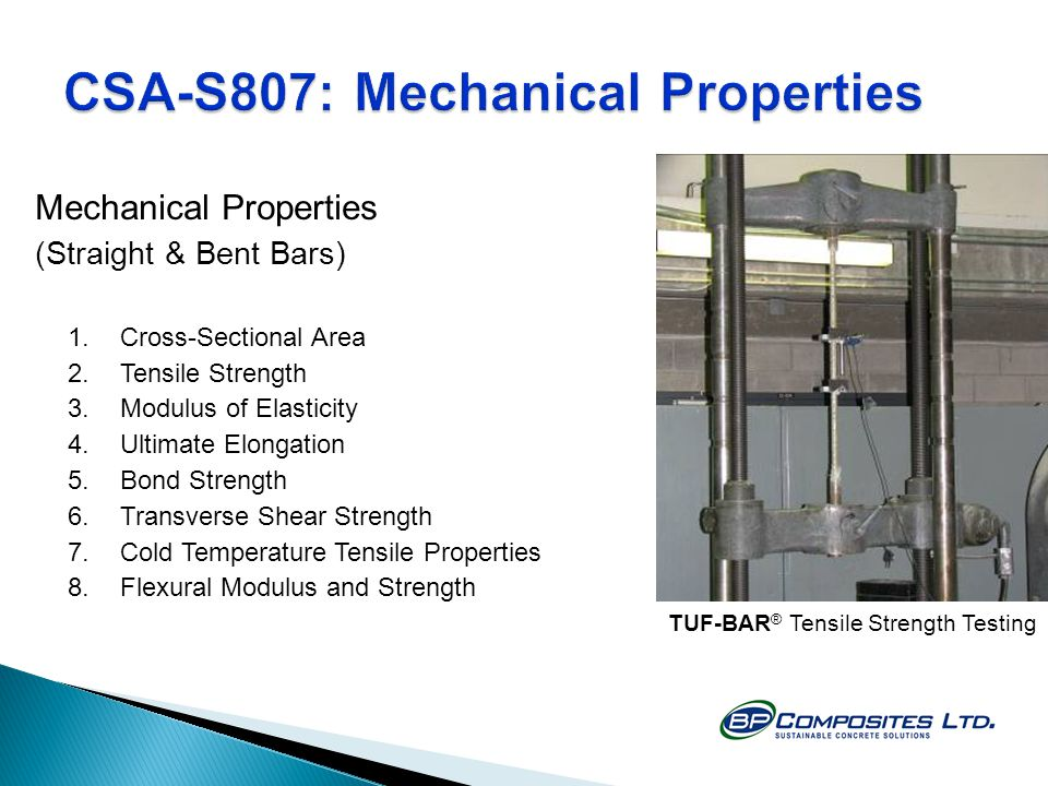 CSA-S807: Mechanical Properties