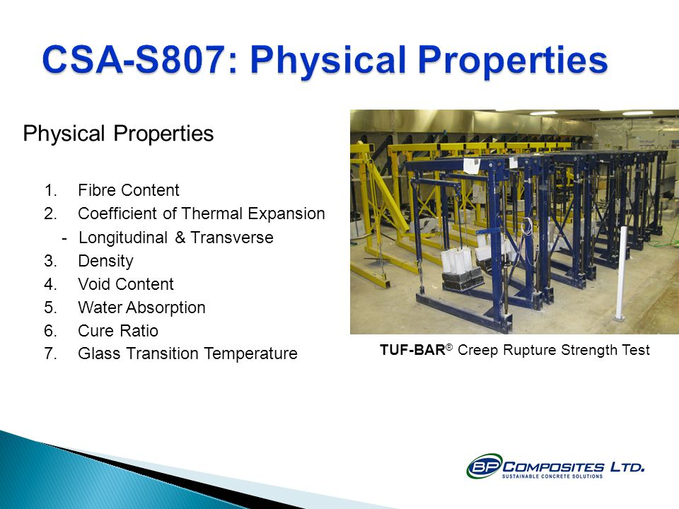 CSA-S807: Physical Properties