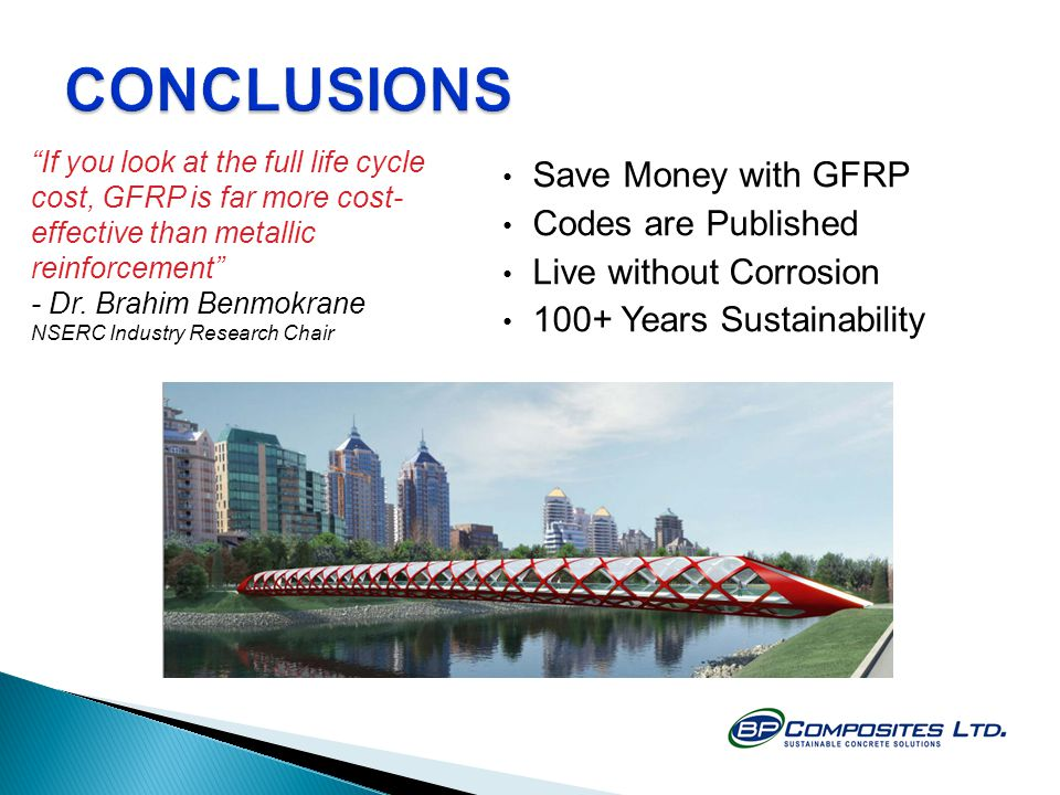 CONCLUSIONS Save Money with GFRP Codes are Published