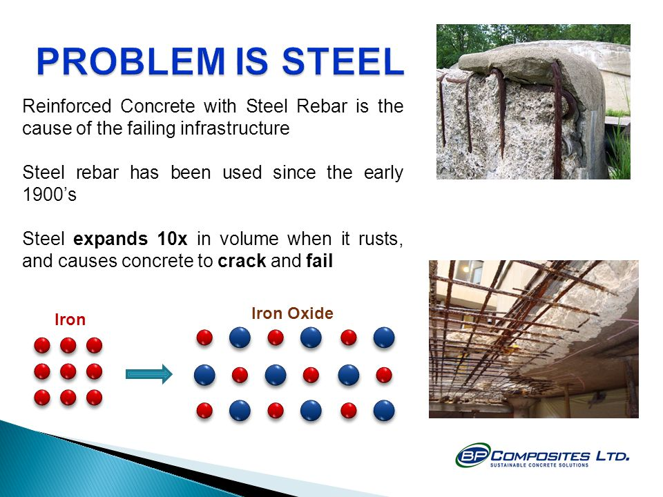 PROBLEM IS STEEL Reinforced Concrete with Steel Rebar is the cause of the failing infrastructure. Steel rebar has been used since the early 1900's.