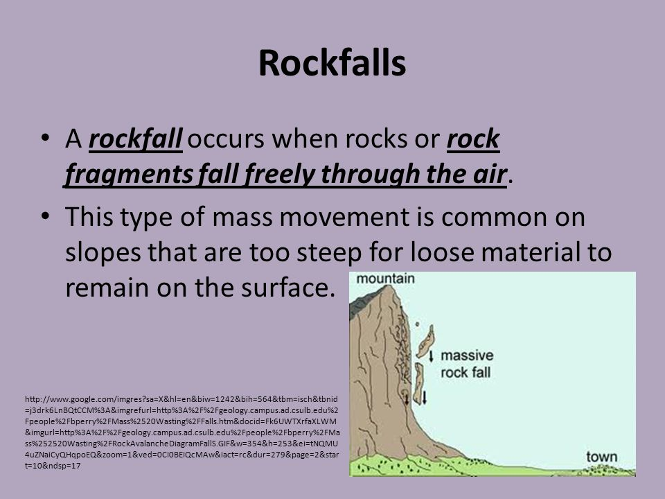 Rockfalls A rockfall occurs when rocks or rock fragments fall freely through the air.