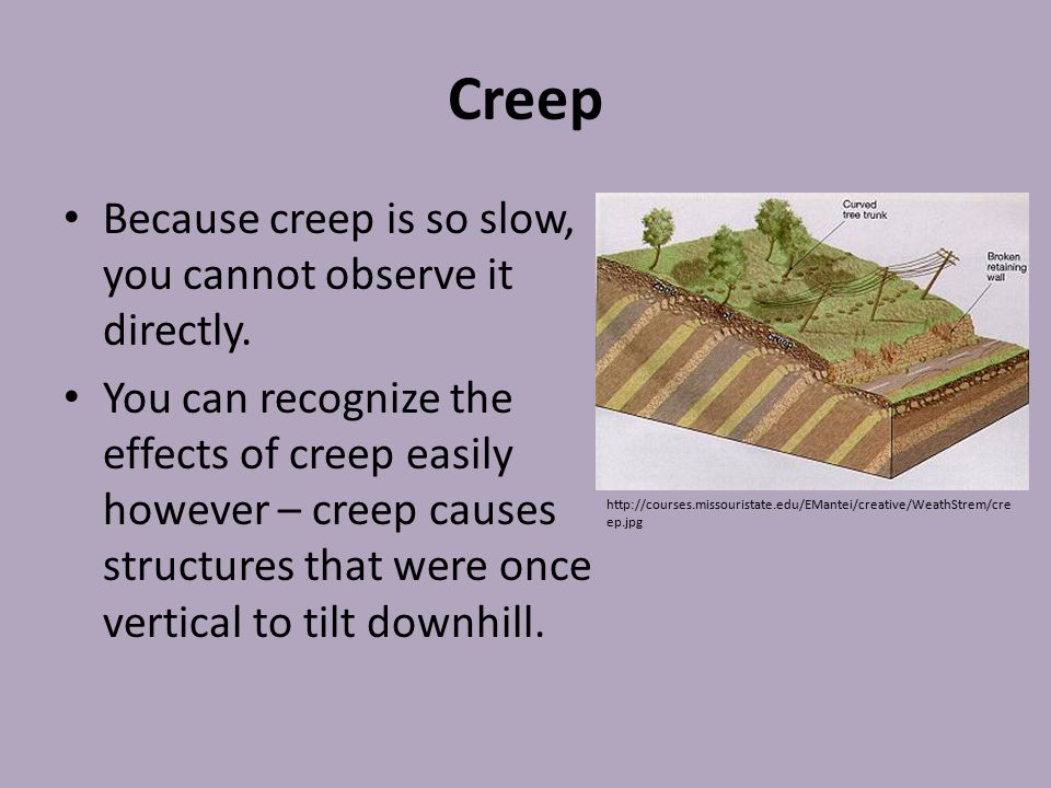 Creep Because creep is so slow, you cannot observe it directly.