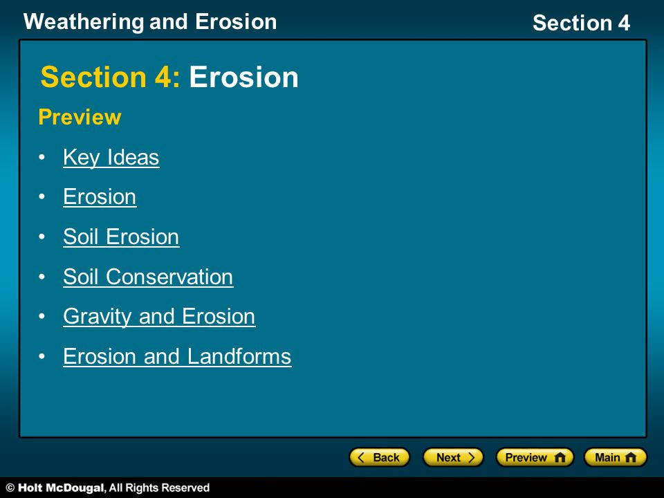 Section 4: Erosion Preview Key Ideas Erosion Soil Erosion