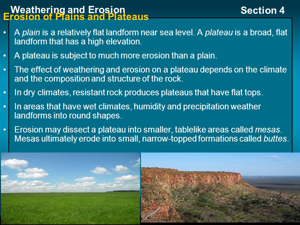 Erosion of Plains and Plateaus
