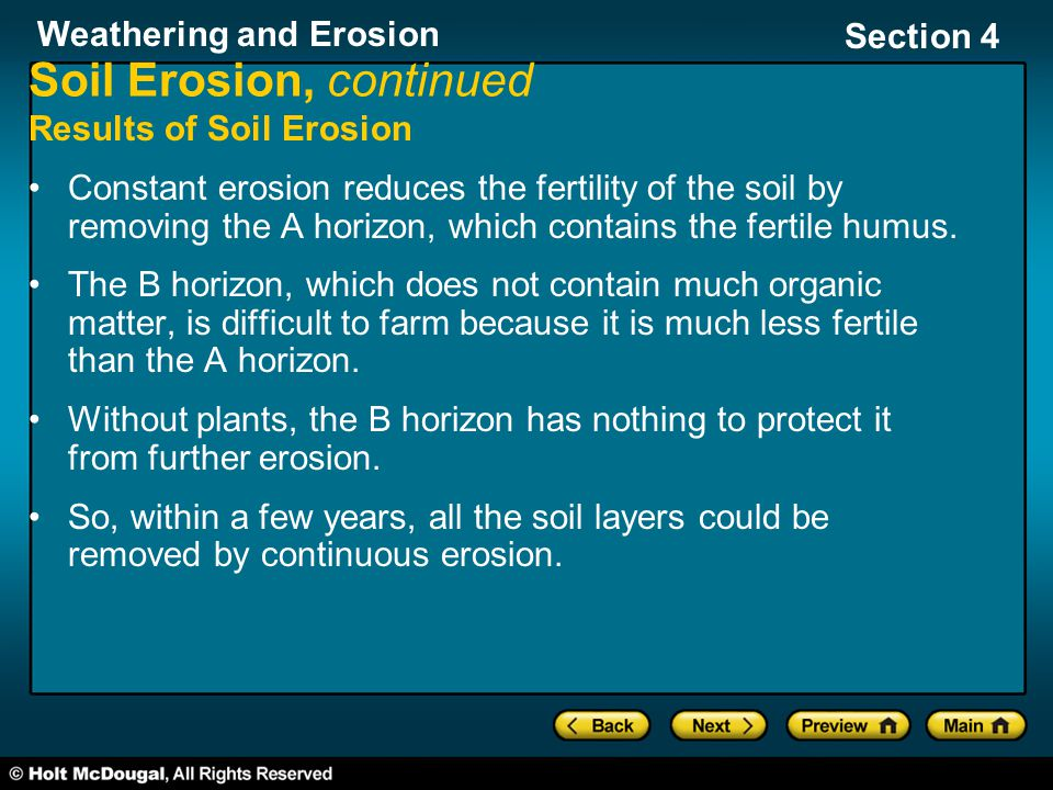 Soil Erosion, continued
