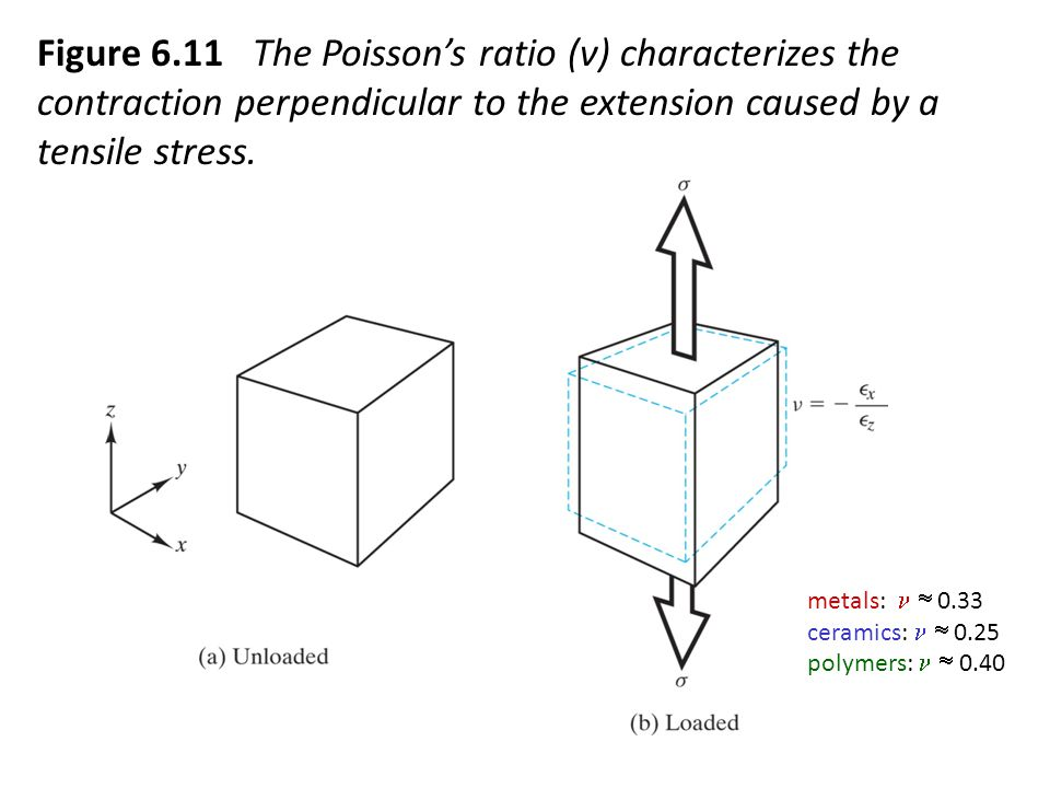 Figure 6.11 The Poisson's ratio (ν) characterizes the contraction perpendicular to the extension caused by a tensile stress.