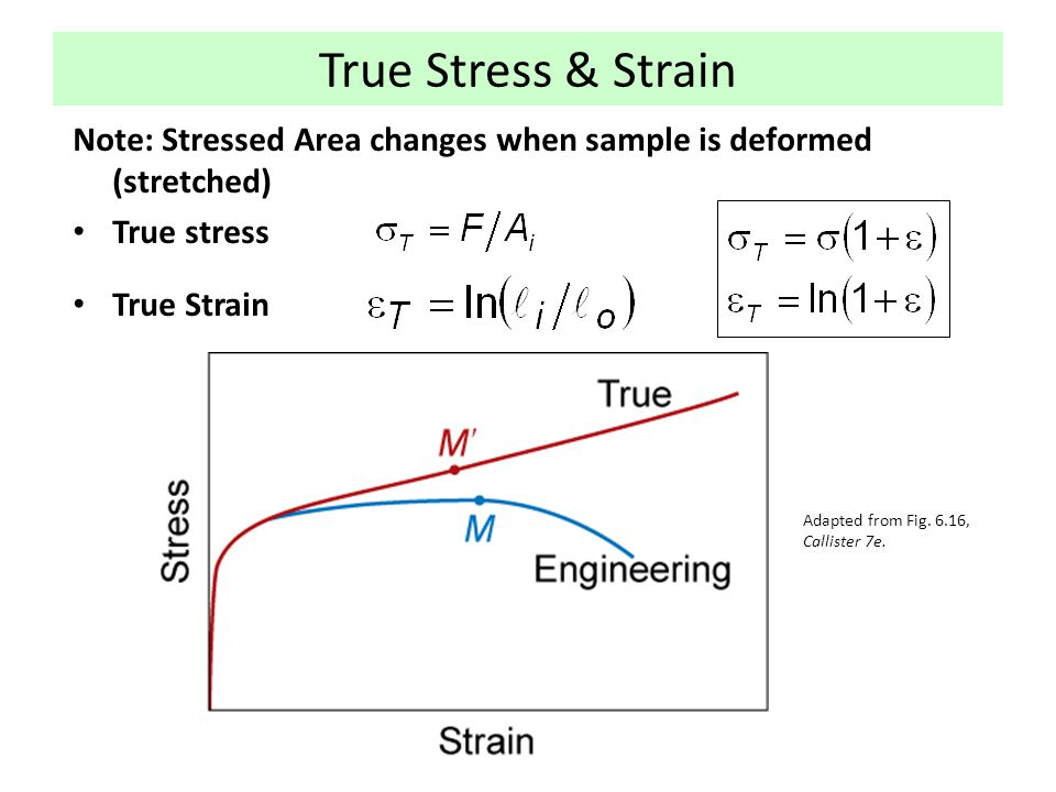 True Stress & Strain Note: Stressed Area changes when sample is deformed (stretched) True stress. True Strain.