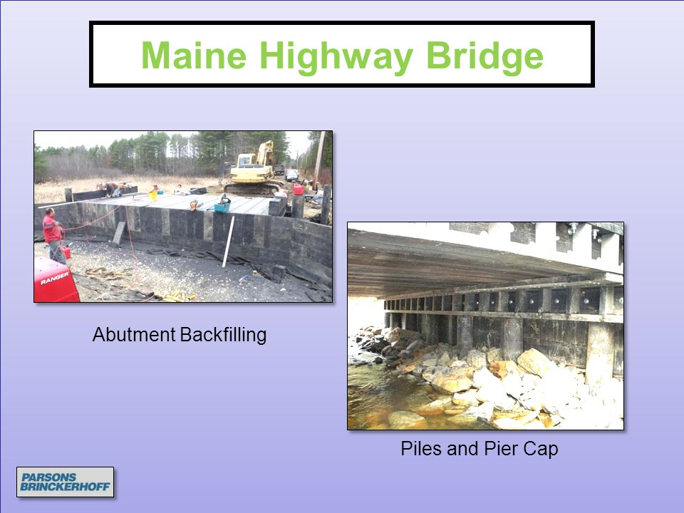 Maine Highway Bridge Abutment Backfilling Piles and Pier Cap