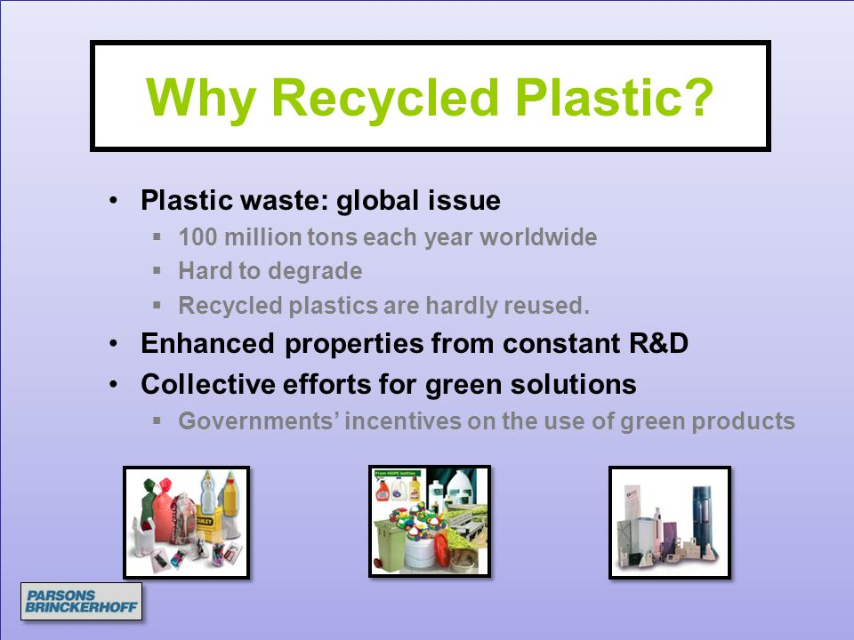 Why Recycled Plastic Plastic waste: global issue