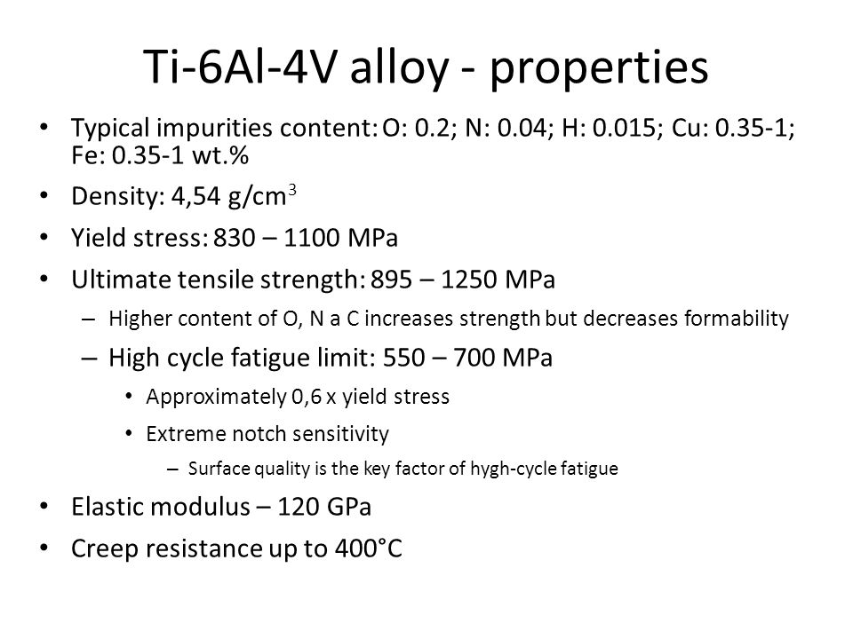 Ti-6Al-4V alloy - properties