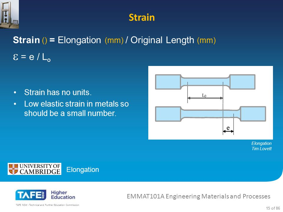  = e / Lo Strain Strain () = Elongation (mm) / Original Length (mm)