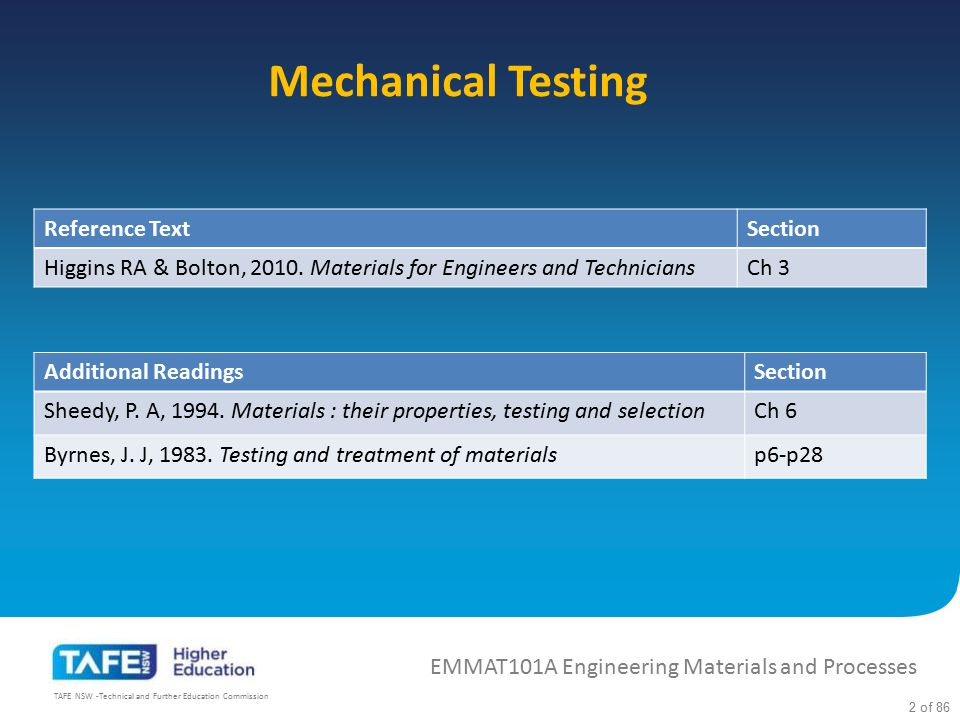 Mechanical Testing Reference Text Section