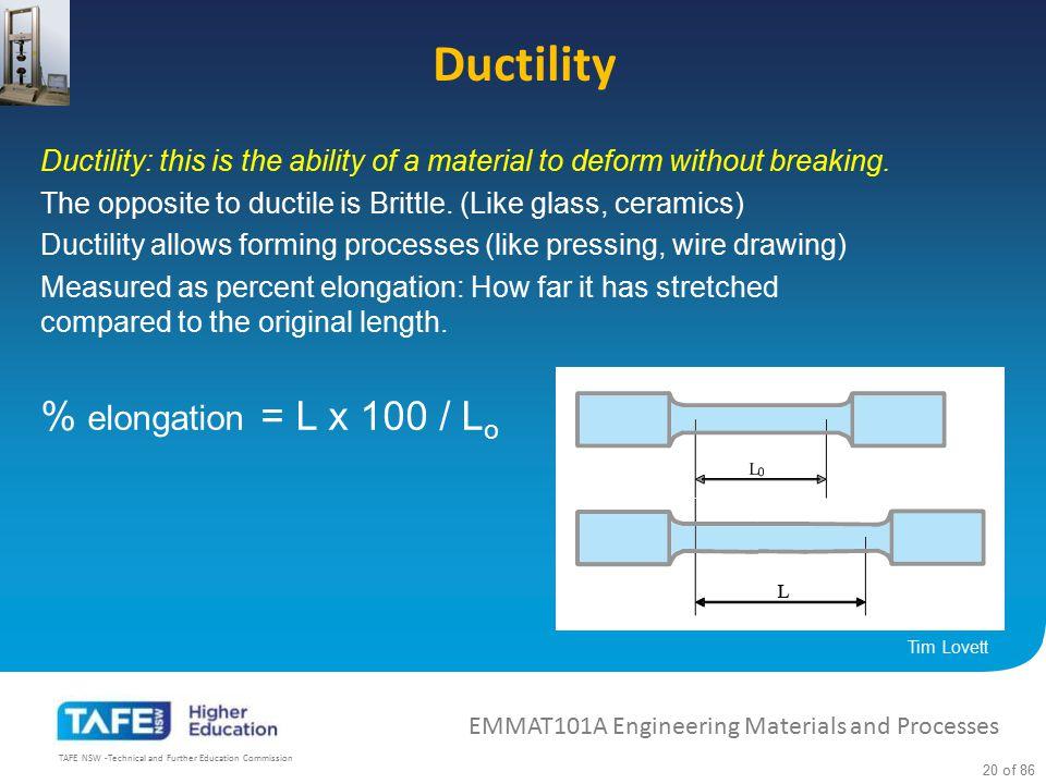 Ductility % elongation = L x 100 / Lo