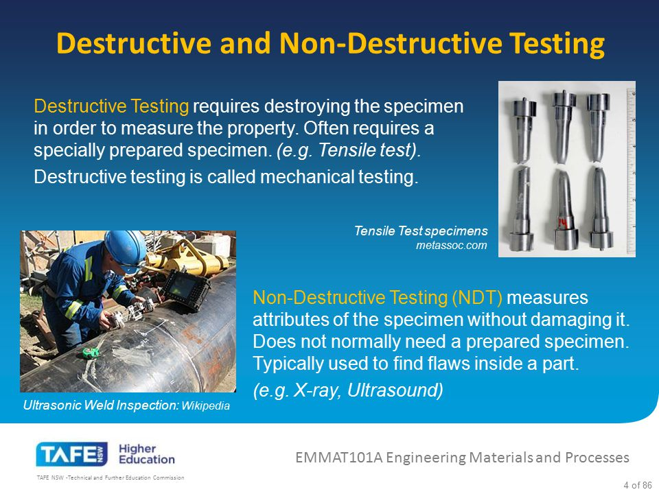 Destructive and Non-Destructive Testing