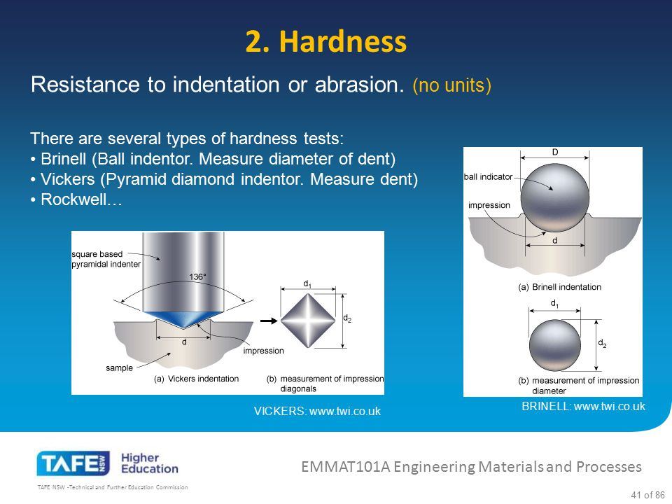 2. Hardness Resistance to indentation or abrasion. (no units)