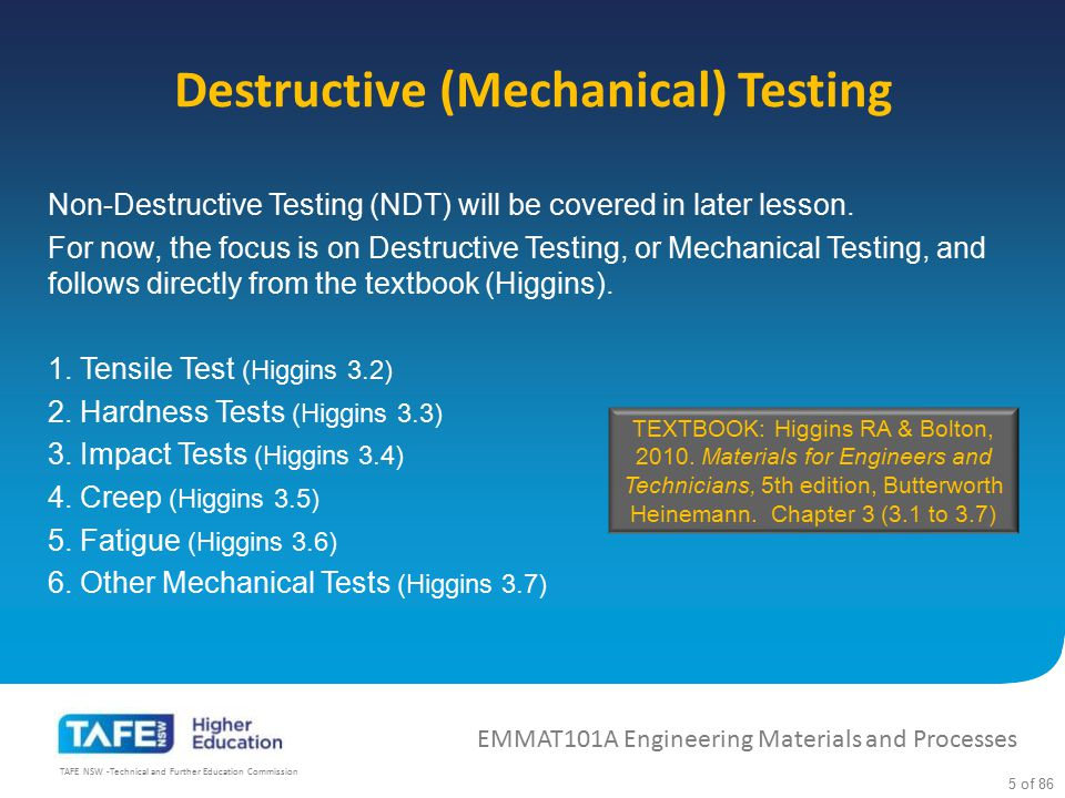 Destructive (Mechanical) Testing