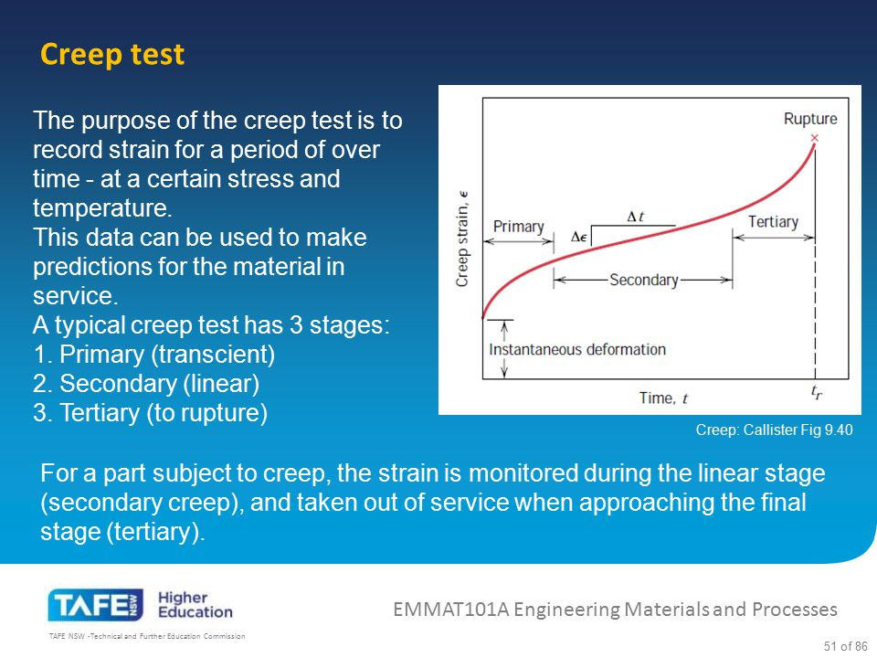 Creep test The purpose of the creep test is to record strain for a period of over time - at a certain stress and temperature.