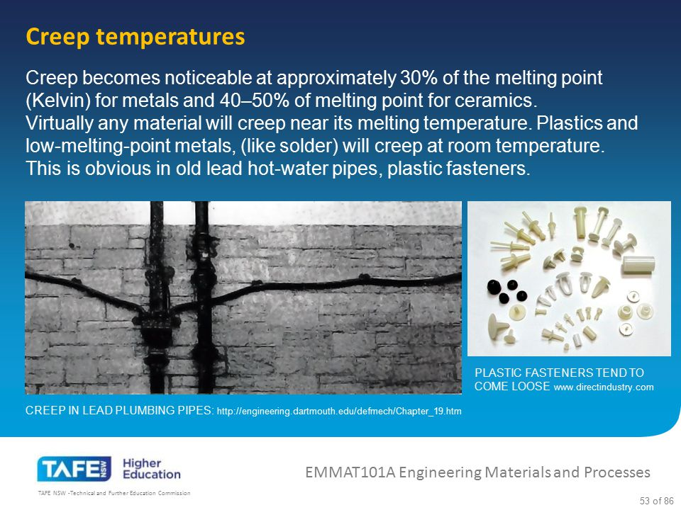 Creep temperatures Creep becomes noticeable at approximately 30% of the melting point (Kelvin) for metals and 40–50% of melting point for ceramics.