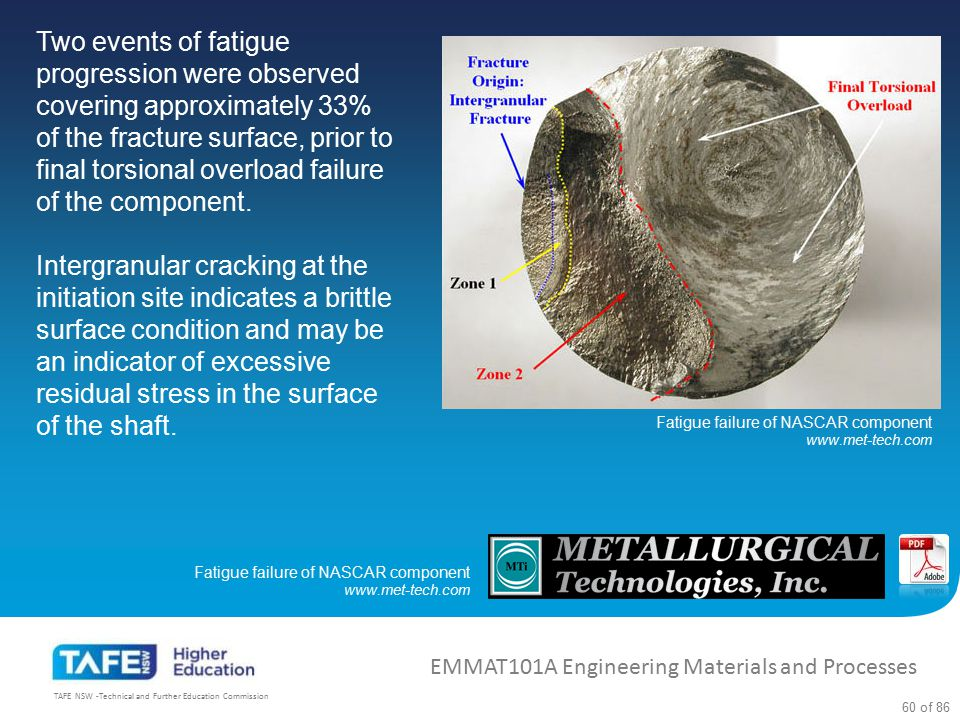 Two events of fatigue progression were observed covering approximately 33% of the fracture surface, prior to final torsional overload failure of the component.