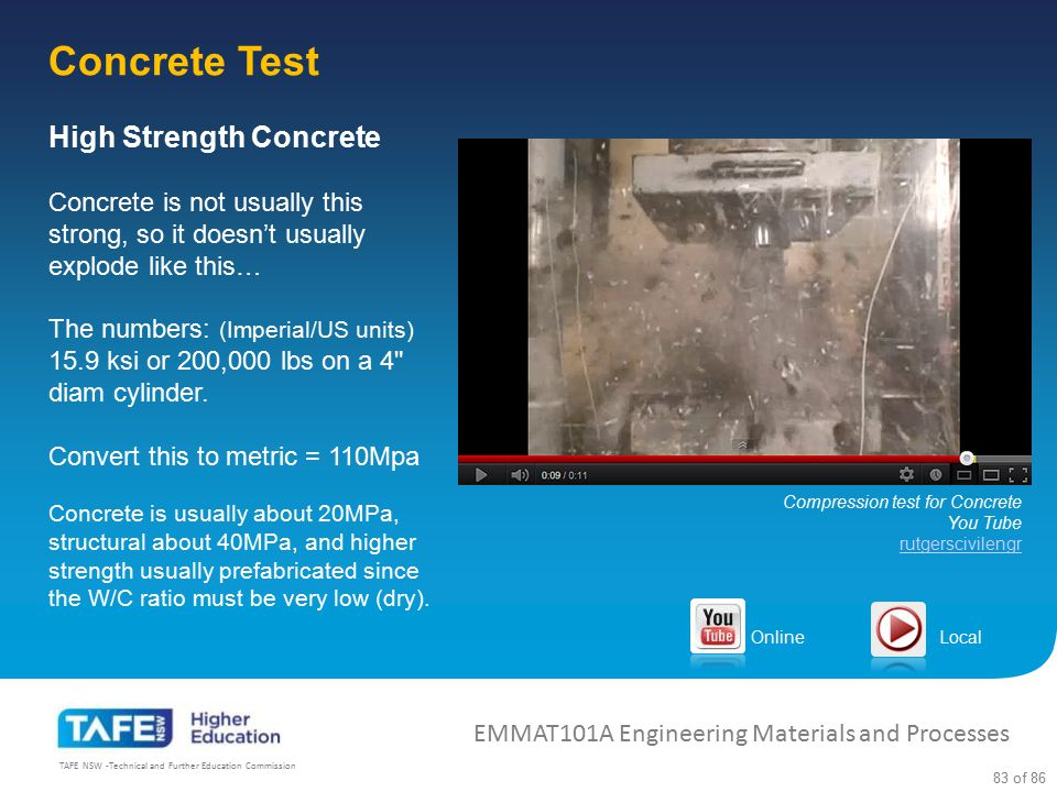 Concrete Test High Strength Concrete