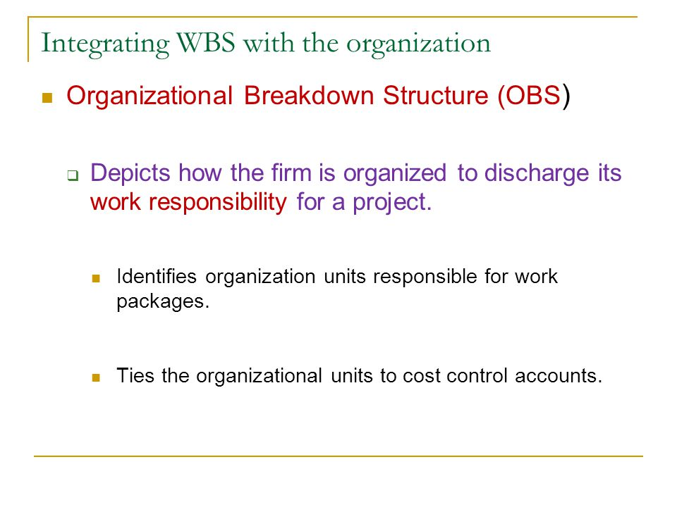 Integrating WBS with the organization