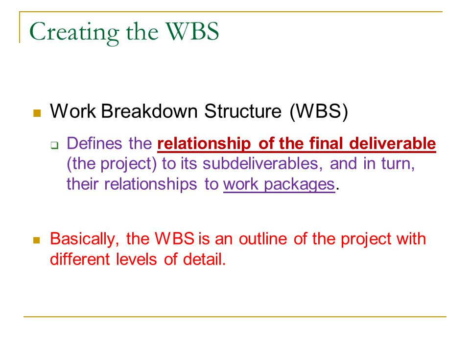Creating the WBS Work Breakdown Structure (WBS)
